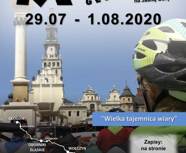 Plakat Rowerowej Pielgrzymki Głogowskiej na Jasną Górę 2020